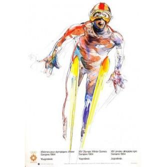 SARAJEVO OLIMPIJSKE IGRE PLAKAT SKIJAŠKI SKOKOVI : SARAJEVO OLYMPIC GAMES VINTAGE POSTER SKI JUMPING